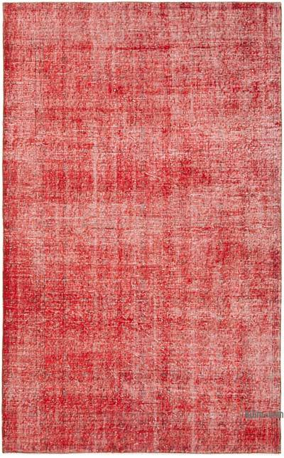"""Red Over-dyed Vintage Hand-Knotted Turkish Rug - 5' 1"""" x 8'  (61 in. x 96 in.)"""