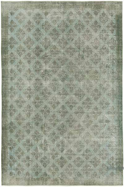 Açık Mavi Boyalı El Dokuma Vintage Halı - 206 cm x 307 cm