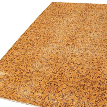 """Orange Over-dyed Vintage Hand-Knotted Turkish Rug - 5'  x 8' 8"""" (60 in. x 104 in.) - K0056085"""