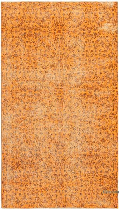 Turuncu Boyalı El Dokuma Vintage Halı - 152 cm x 264 cm