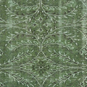 """Green Over-dyed Vintage Hand-Knotted Turkish Rug - 4' 8"""" x 8' 3"""" (56 in. x 99 in.) - K0056088"""