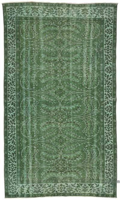 Yeşil Boyalı El Dokuma Vintage Halı - 143 cm x 251 cm