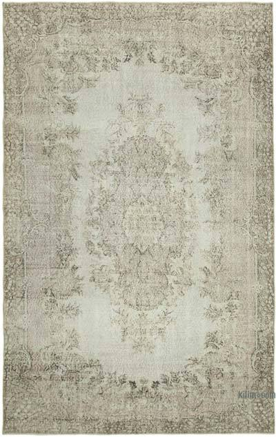 """Beige Over-dyed Vintage Hand-Knotted Turkish Rug - 6' 4"""" x 10'  (76 in. x 120 in.)"""