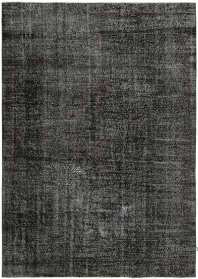 """Black Over-dyed Vintage Hand-Knotted Turkish Rug - 6' 7"""" x 9' 2"""" (79 in. x 110 in.)"""