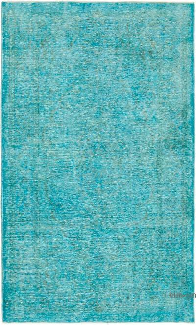 """Aqua Over-dyed Vintage Hand-Knotted Turkish Rug - 5' 3"""" x 8' 8"""" (63 in. x 104 in.)"""
