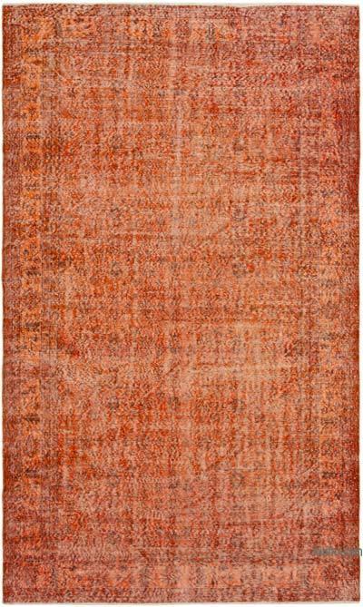Turuncu Boyalı El Dokuma Vintage Halı - 188 cm x 315 cm