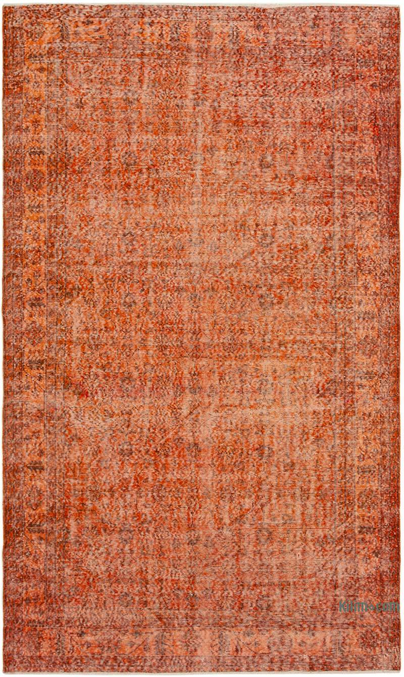 """Orange Over-dyed Vintage Hand-Knotted Turkish Rug - 6' 2"""" x 10' 4"""" (74 in. x 124 in.) - K0056094"""