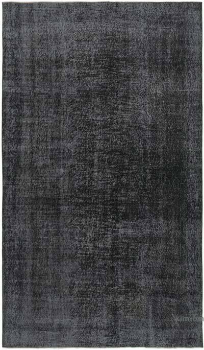 Siyah Boyalı El Dokuma Vintage Halı