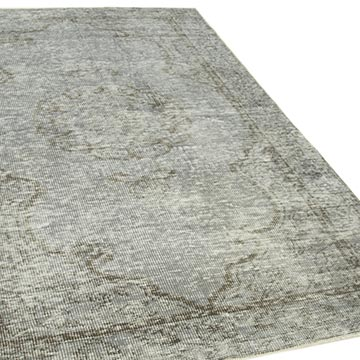 """Grey Over-dyed Vintage Hand-Knotted Turkish Rug - 5' 2"""" x 8' 2"""" (62 in. x 98 in.) - K0056097"""