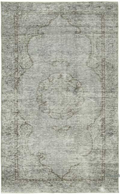 Gri Boyalı El Dokuma Vintage Halı - 157 cm x 250 cm