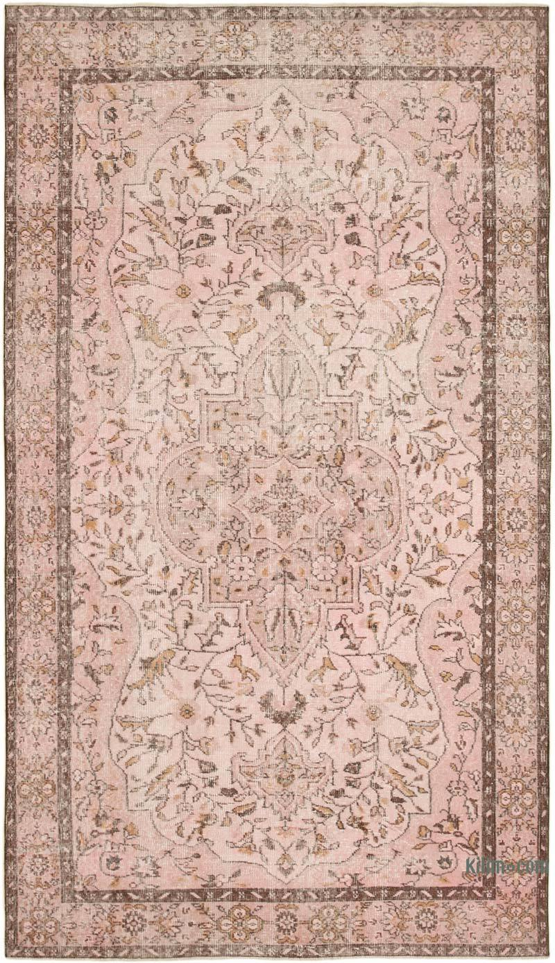 """Pink Over-dyed Vintage Hand-Knotted Turkish Rug - 5' 11"""" x 10' 2"""" (71 in. x 122 in.) - K0056098"""