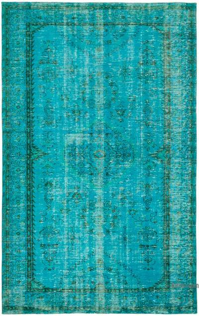 """Aqua Over-dyed Vintage Hand-Knotted Turkish Rug - 6'  x 9' 9"""" (72 in. x 117 in.)"""