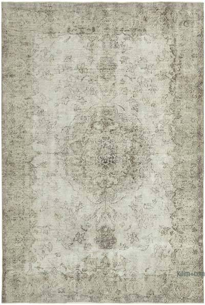"""Grey Over-dyed Vintage Hand-Knotted Turkish Rug - 6' 5"""" x 9' 5"""" (77 in. x 113 in.)"""