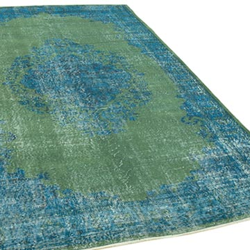 """Aqua Over-dyed Vintage Hand-Knotted Turkish Rug - 5' 8"""" x 9' 3"""" (68 in. x 111 in.) - K0056105"""