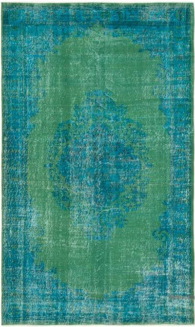 """Aqua Over-dyed Vintage Hand-Knotted Turkish Rug - 5' 8"""" x 9' 3"""" (68 in. x 111 in.)"""