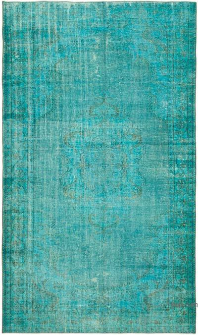 """Aqua Over-dyed Vintage Hand-Knotted Turkish Rug - 5' 10"""" x 9' 9"""" (70 in. x 117 in.)"""
