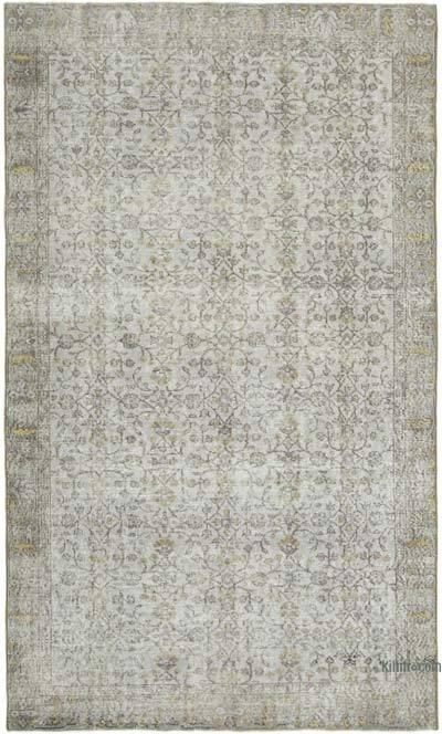 Gri Boyalı El Dokuma Vintage Halı - 182 cm x 277 cm