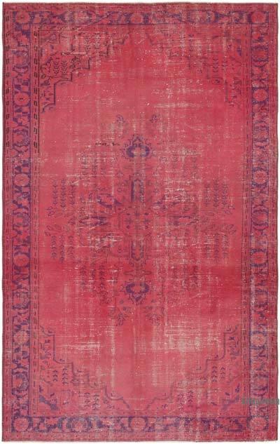 Pembe Boyalı El Dokuma Vintage Halı - 187 cm x 295 cm