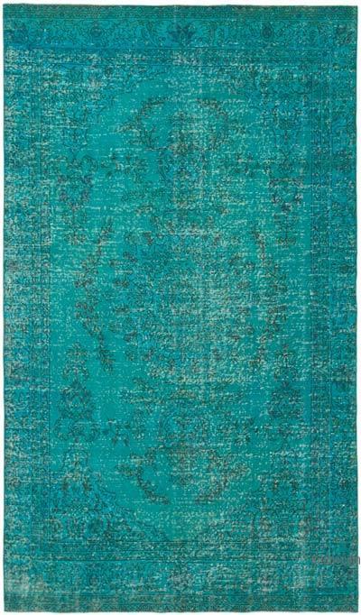 Mavi-Yeşil Boyalı El Dokuma Vintage Halı - 180 cm x 308 cm