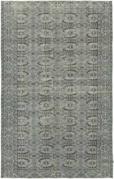 """Grey Over-dyed Vintage Hand-Knotted Turkish Rug - 5' 9"""" x 9'  (69 in. x 108 in.)"""