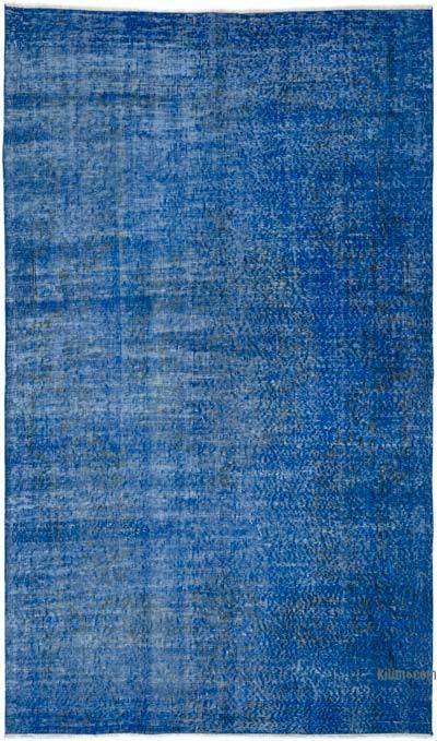 Mavi Boyalı El Dokuma Vintage Halı - 144 cm x 243 cm