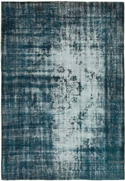 Lacivert Boyalı El Dokuma Vintage Halı - 182 cm x 260 cm