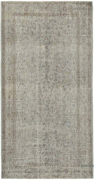 """Grey Over-dyed Vintage Hand-Knotted Turkish Rug - 4' 6"""" x 8' 8"""" (54 in. x 104 in.)"""