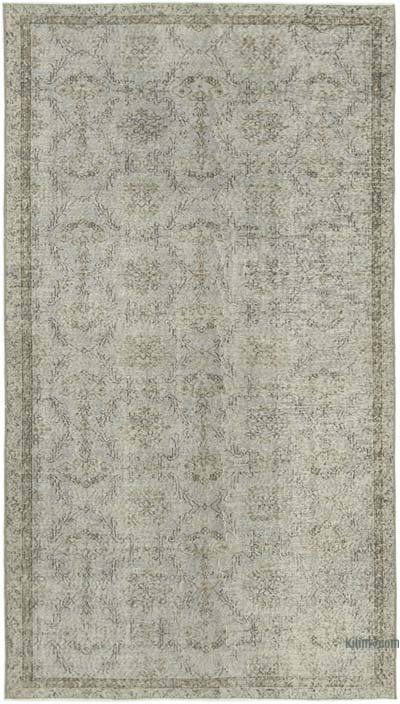 """Grey Over-dyed Vintage Hand-Knotted Turkish Rug - 5'  x 8' 8"""" (60 in. x 104 in.)"""