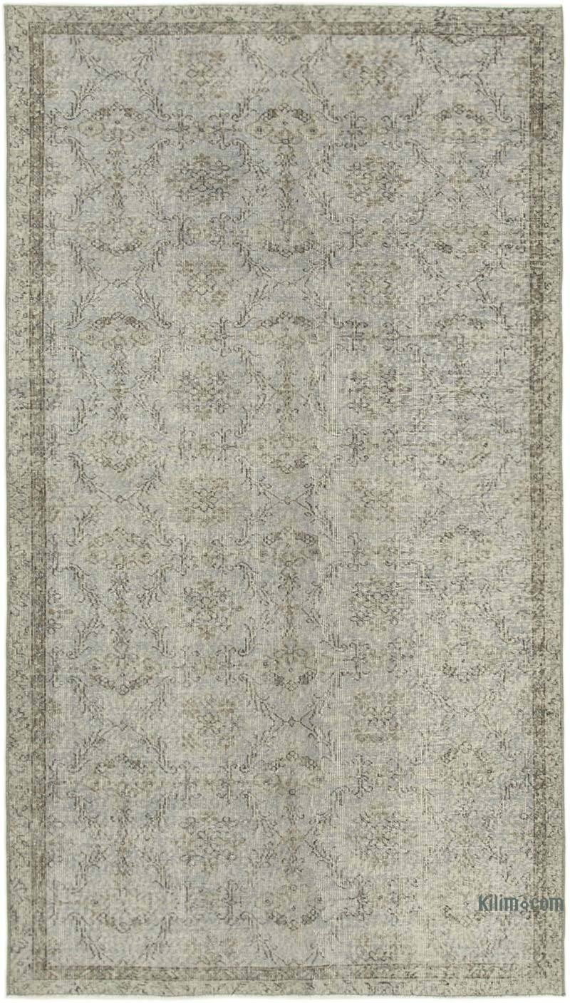 """Grey Over-dyed Vintage Hand-Knotted Turkish Rug - 5'  x 8' 8"""" (60 in. x 104 in.) - K0056122"""