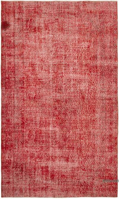 """Red Over-dyed Vintage Hand-Knotted Turkish Rug - 5' 7"""" x 9' 2"""" (67 in. x 110 in.)"""