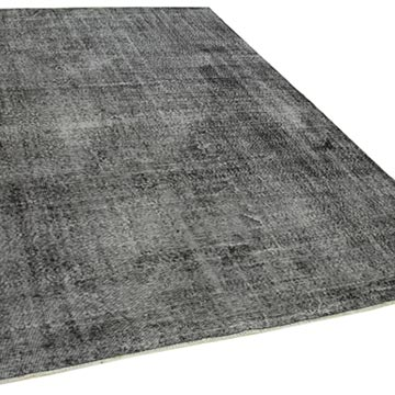 """Black Over-dyed Vintage Hand-Knotted Turkish Rug - 6' 9"""" x 9' 10"""" (81 in. x 118 in.) - K0056126"""