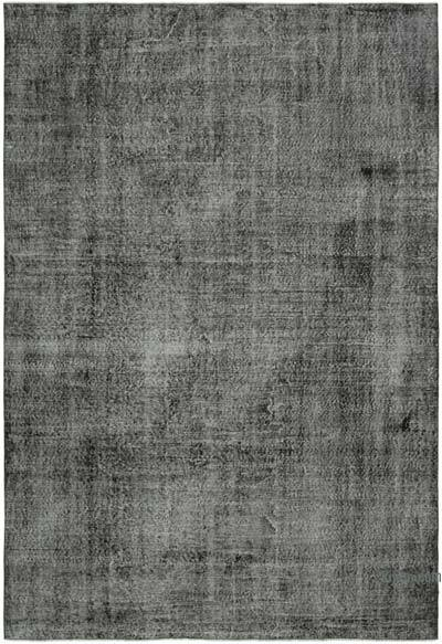 """Black Over-dyed Vintage Hand-Knotted Turkish Rug - 6' 9"""" x 9' 10"""" (81 in. x 118 in.)"""