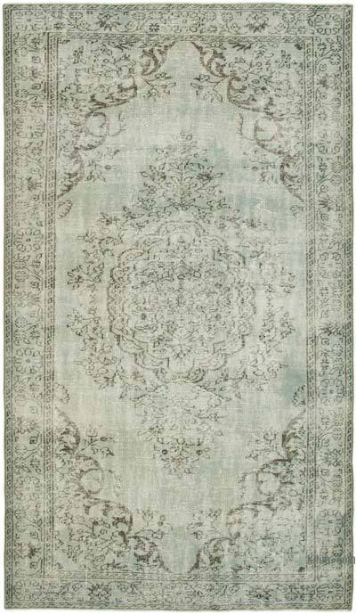 """Blue, Grey Over-dyed Vintage Hand-Knotted Turkish Rug - 5' 7"""" x 9' 7"""" (67 in. x 115 in.)"""