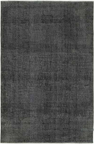 Negro Alfombra Turca Vintage Sobre-teñida - 197 cm x 295 cm