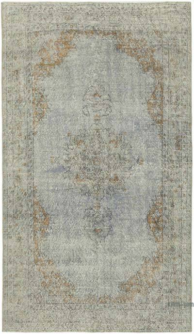 """Grey Over-dyed Vintage Hand-Knotted Turkish Rug - 5'  x 8' 11"""" (60 in. x 107 in.)"""