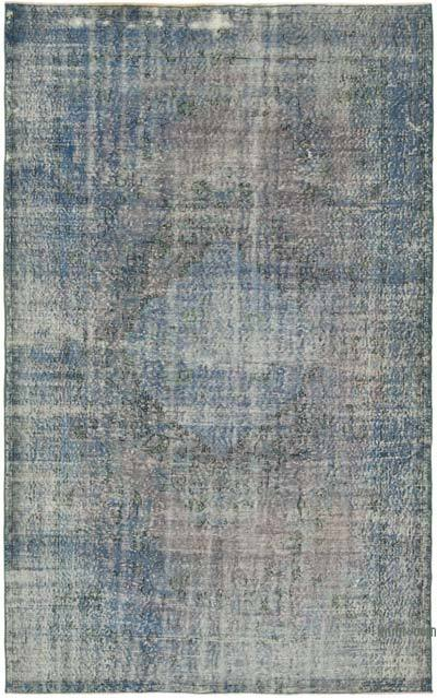 """Blue Over-dyed Vintage Hand-Knotted Turkish Rug - 6' 2"""" x 9' 10"""" (74 in. x 118 in.)"""