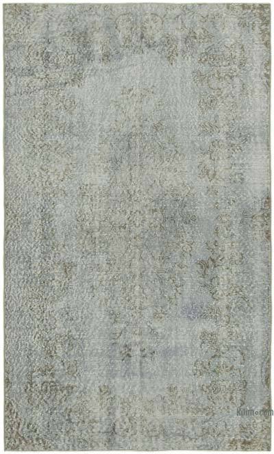"""Blue Over-dyed Vintage Hand-Knotted Turkish Rug - 4' 8"""" x 7' 8"""" (56 in. x 92 in.)"""