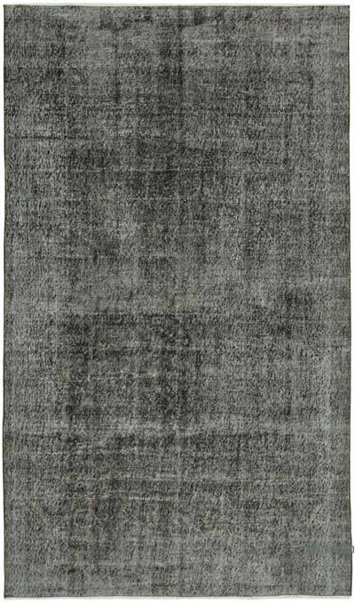 """Black Over-dyed Vintage Hand-Knotted Turkish Rug - 5' 5"""" x 9' 1"""" (65 in. x 109 in.)"""