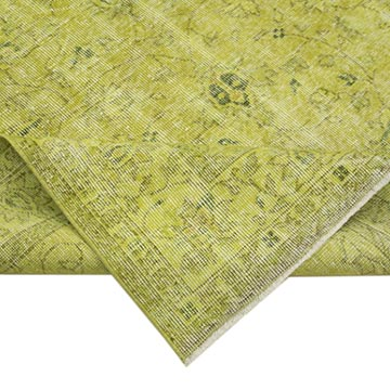 """Yellow Over-dyed Vintage Hand-Knotted Turkish Rug - 5' 3"""" x 8' 7"""" (63 in. x 103 in.) - K0056143"""