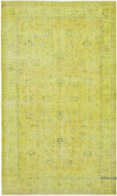 """Yellow Over-dyed Vintage Hand-Knotted Turkish Rug - 5' 3"""" x 8' 7"""" (63 in. x 103 in.)"""