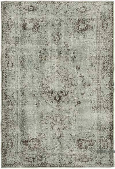 """Grey Over-dyed Vintage Hand-Knotted Turkish Rug - 6' 3"""" x 9' 1"""" (75 in. x 109 in.)"""