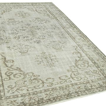 """Grey Over-dyed Vintage Hand-Knotted Turkish Rug - 5' 8"""" x 9' 2"""" (68 in. x 110 in.) - K0056145"""