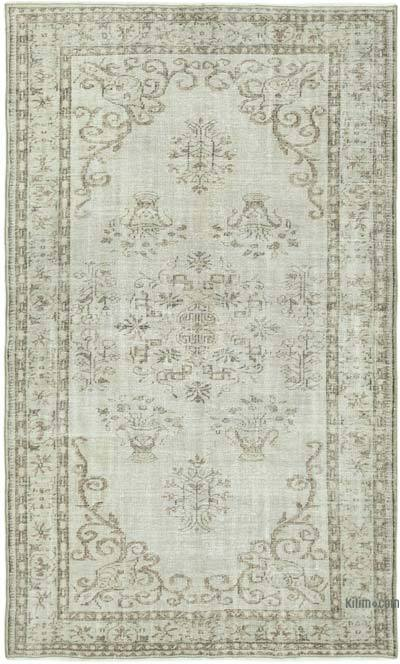 """Grey Over-dyed Vintage Hand-Knotted Turkish Rug - 5' 8"""" x 9' 2"""" (68 in. x 110 in.)"""