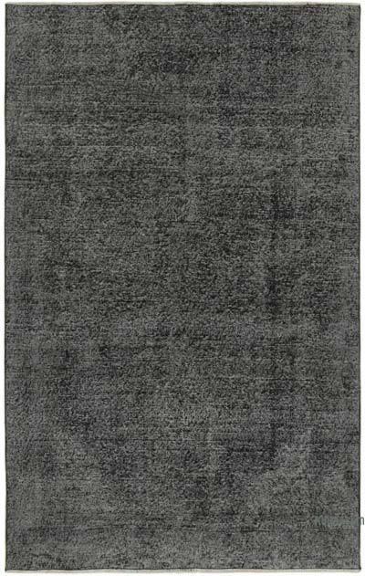 Siyah Boyalı El Dokuma Vintage Halı - 142 cm x 230 cm