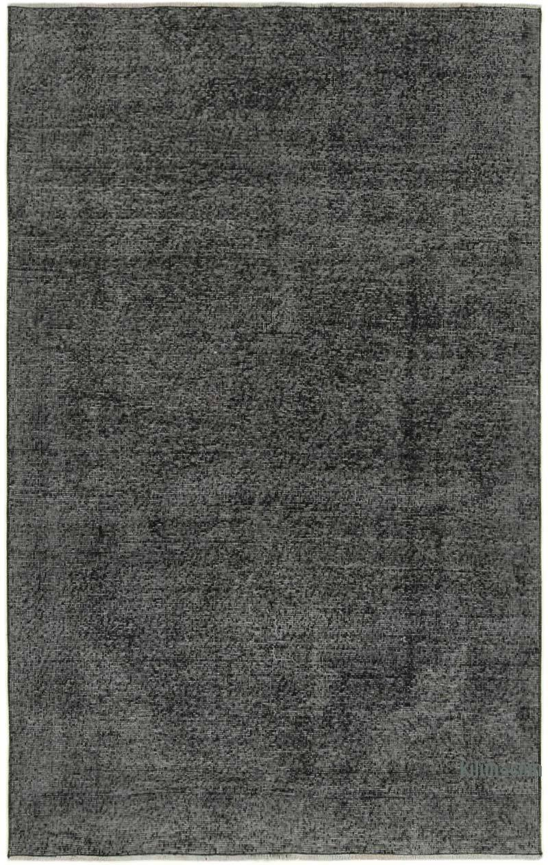 """Black Over-dyed Vintage Hand-Knotted Turkish Rug - 4' 8"""" x 7' 7"""" (56 in. x 91 in.) - K0056146"""