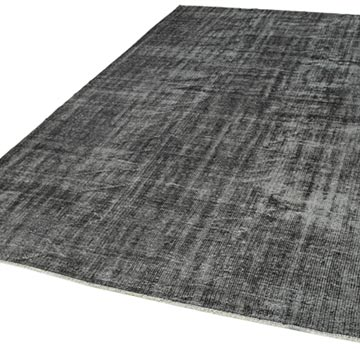 """Black Over-dyed Vintage Hand-Knotted Turkish Rug - 6' 9"""" x 9' 11"""" (81 in. x 119 in.) - K0056150"""