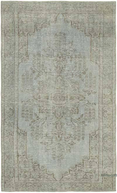 Gri Boyalı El Dokuma Vintage Halı - 165 cm x 262 cm