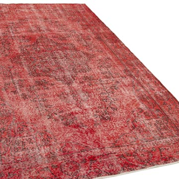 """Red Over-dyed Vintage Hand-Knotted Turkish Rug - 5' 6"""" x 9' 4"""" (66 in. x 112 in.) - K0056152"""
