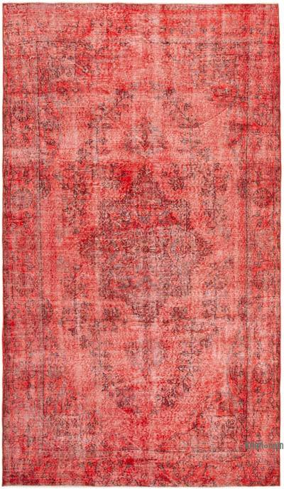 Kırmızı Boyalı El Dokuma Vintage Halı - 168 cm x 285 cm