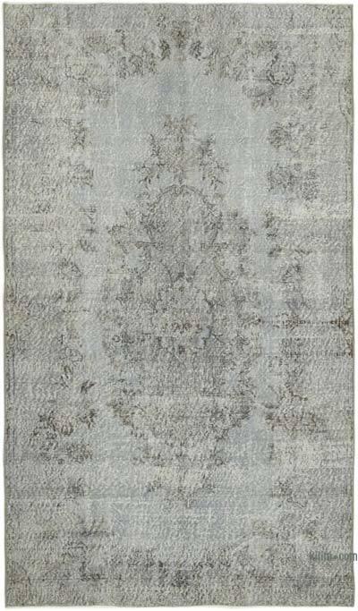 Gri Boyalı El Dokuma Vintage Halı - 149 cm x 254 cm